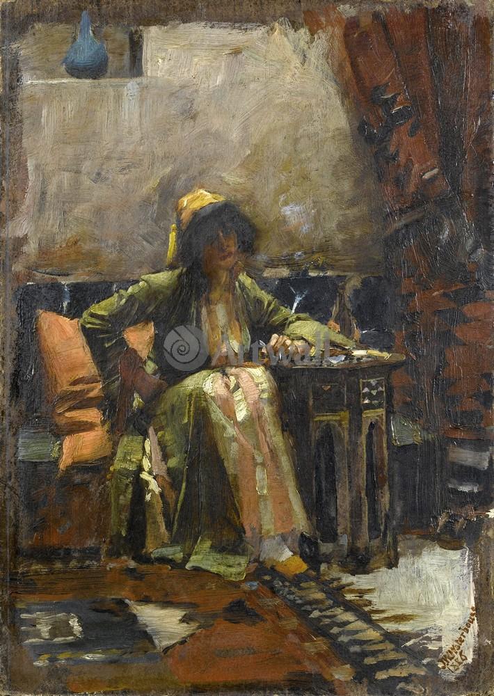 """Художники, картина """"Девушка в восточном интерьере"""", 20x28 см, на бумаге от Artwall"""