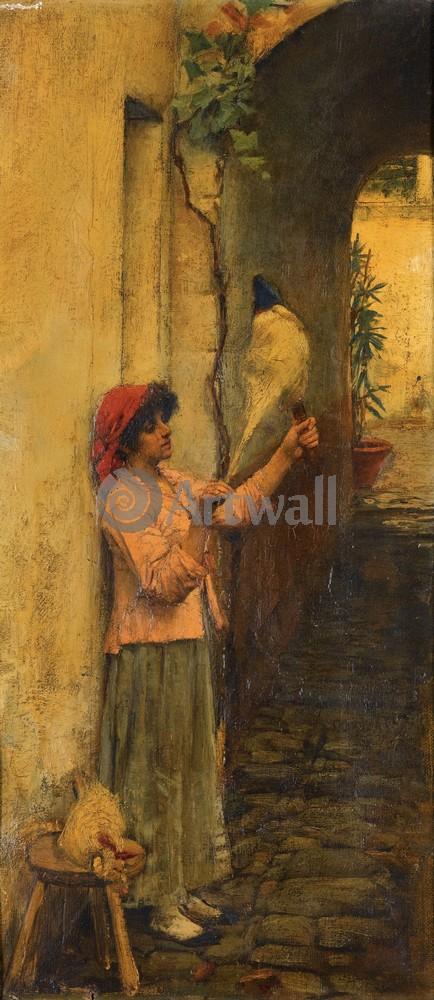 """Художники, картина """"Неаполитанская прядильщица льна"""", 20x46 см, на бумаге от Artwall"""