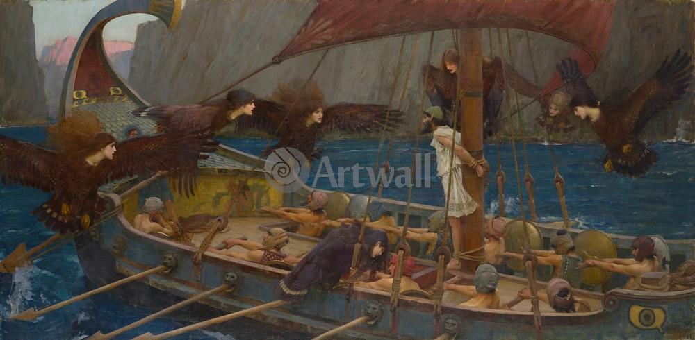 """Художники, картина """"Одиссей и сирены"""", 41x20 см, на бумаге от Artwall"""