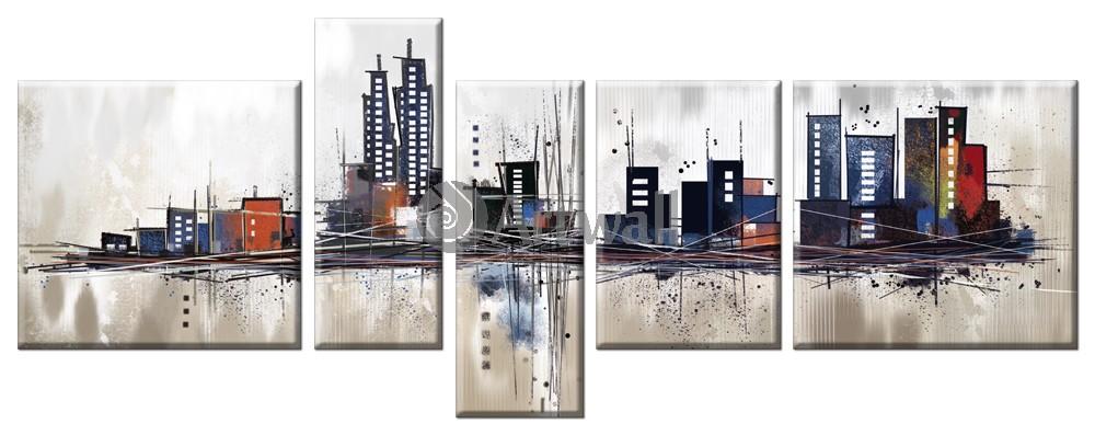 Модульная картина «Современный город», 126x50 см, модульная картина от Artwall