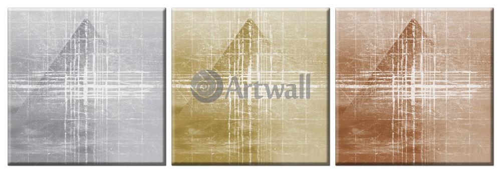 Модульная картина «Пирамиды. Времена суток», 145x50 см, модульная картина от Artwall