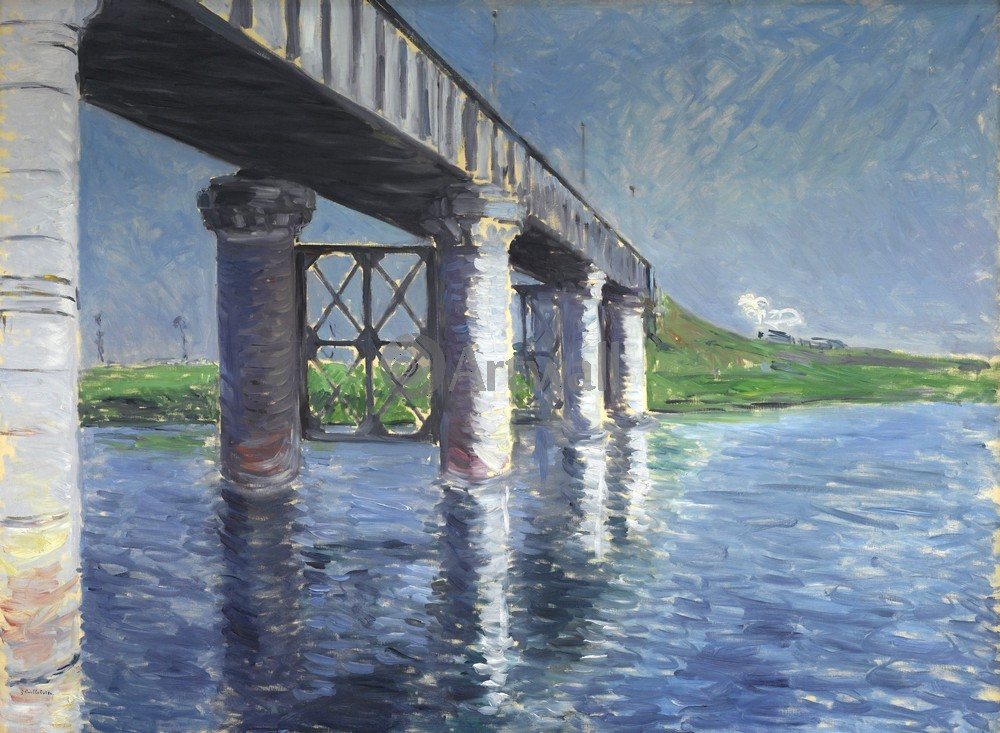 """Художники, картина """"Железнодорожный мост у Аржентея"""", 27x20 см, на бумаге от Artwall"""