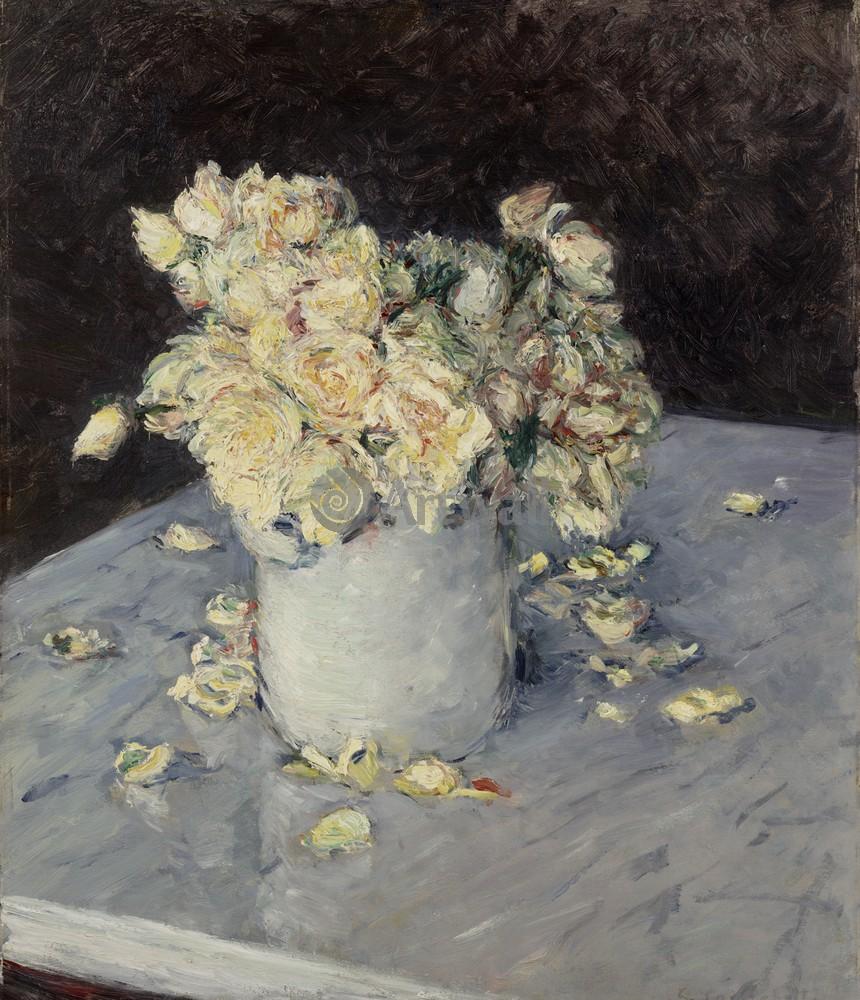 """Художники, картина """"Желтые розы в вазе"""", 20x23 см, на бумаге от Artwall"""