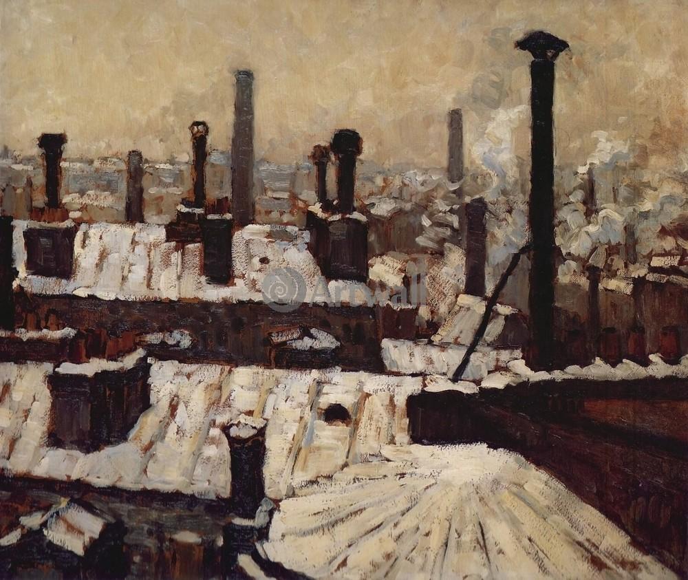 """Художники, картина """"Крыши в снегу"""", 24x20 см, на бумаге от Artwall"""