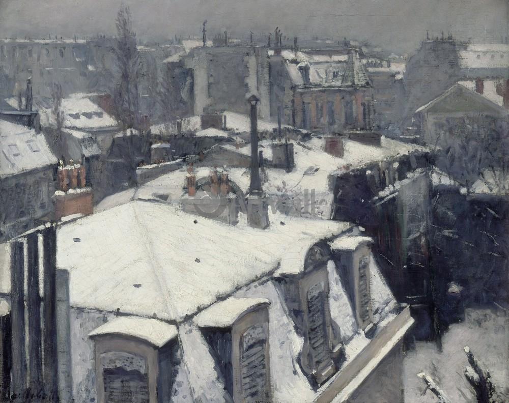 """Художники, картина """"Крыши в снегу"""", 25x20 см, на бумаге от Artwall"""