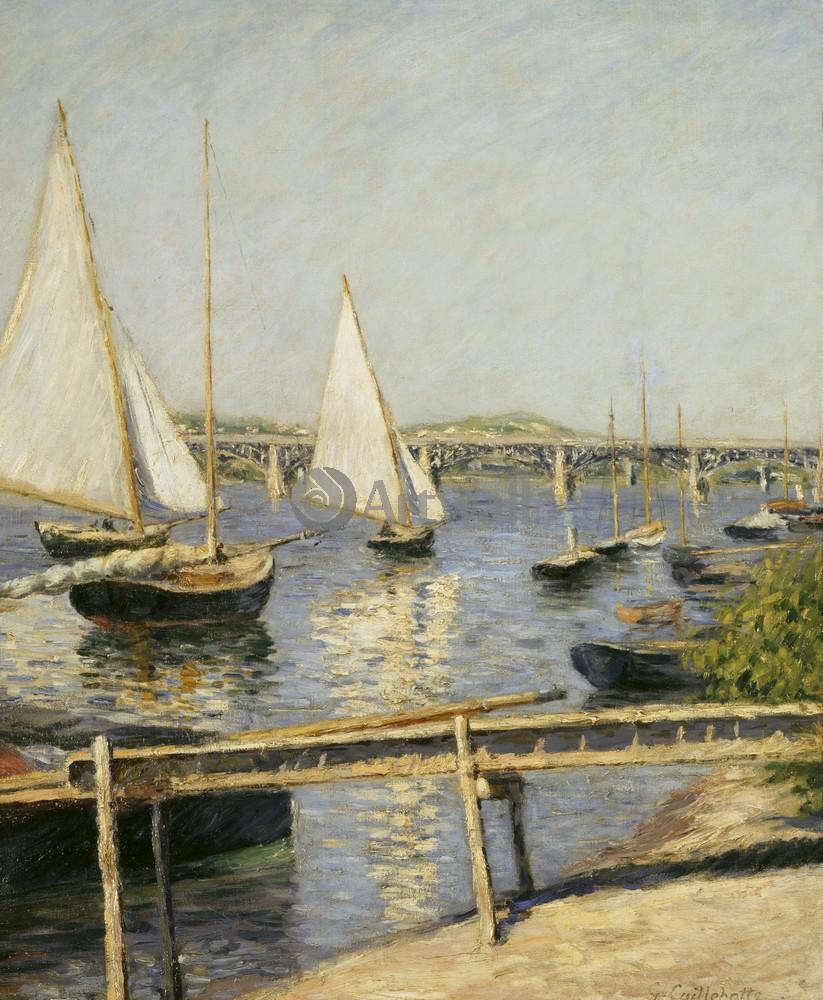 """Художники, картина """"Лодки в Аржантее"""", 20x24 см, на бумаге от Artwall"""