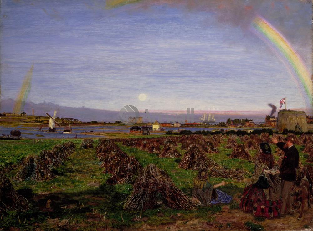 """Искусство, картина """"Браун Форд Мэдокс, Городок Уолтон на мысе Нейз"""", 27x20 см, на бумаге от Artwall"""