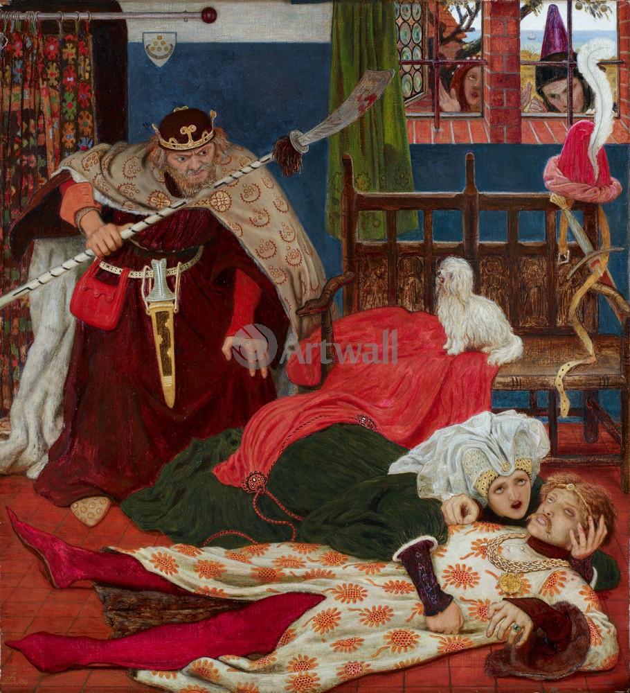 "Искусство, картина ""Браун Форд Мэдокс, Смерть Тристана"", 20x22 см, на бумаге от Artwall"