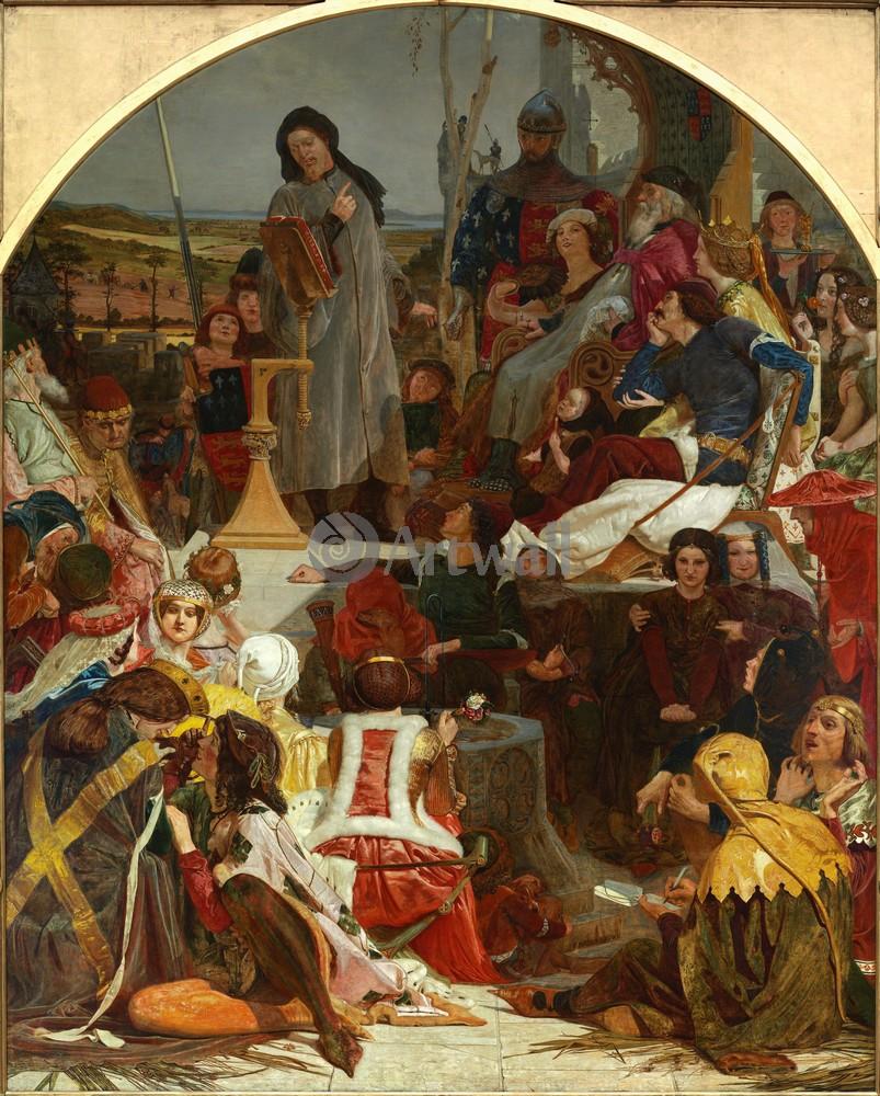"""Искусство, картина """"Браун Форд Мэдокс, Чосер в суде Эдуарда III"""", 20x25 см, на бумаге от Artwall"""
