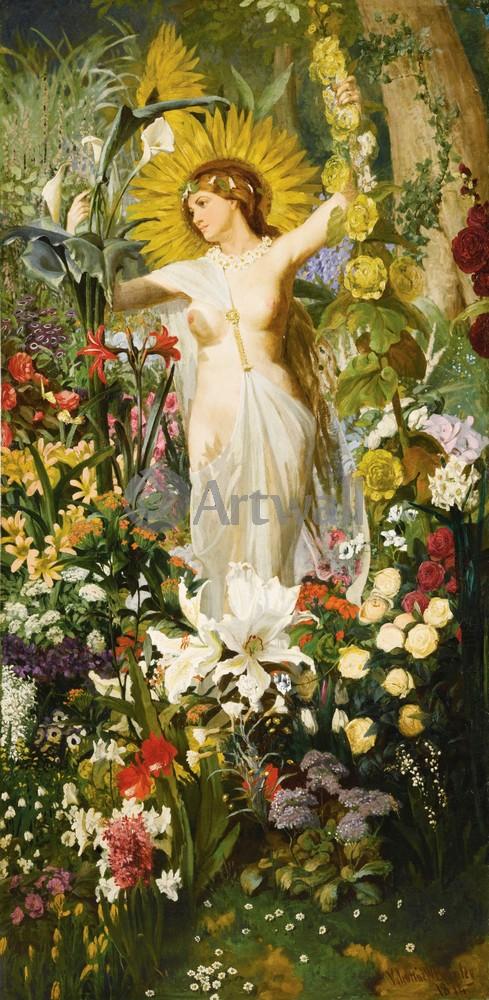 """Искусство, картина """"Бромли Валентин, Флора"""", 20x41 см, на бумаге от Artwall"""