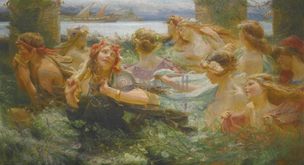 """Искусство, картина """"Вилли Чарльз Уильям, По пути на праздник"""", 37x20 см, на бумаге от Artwall"""
