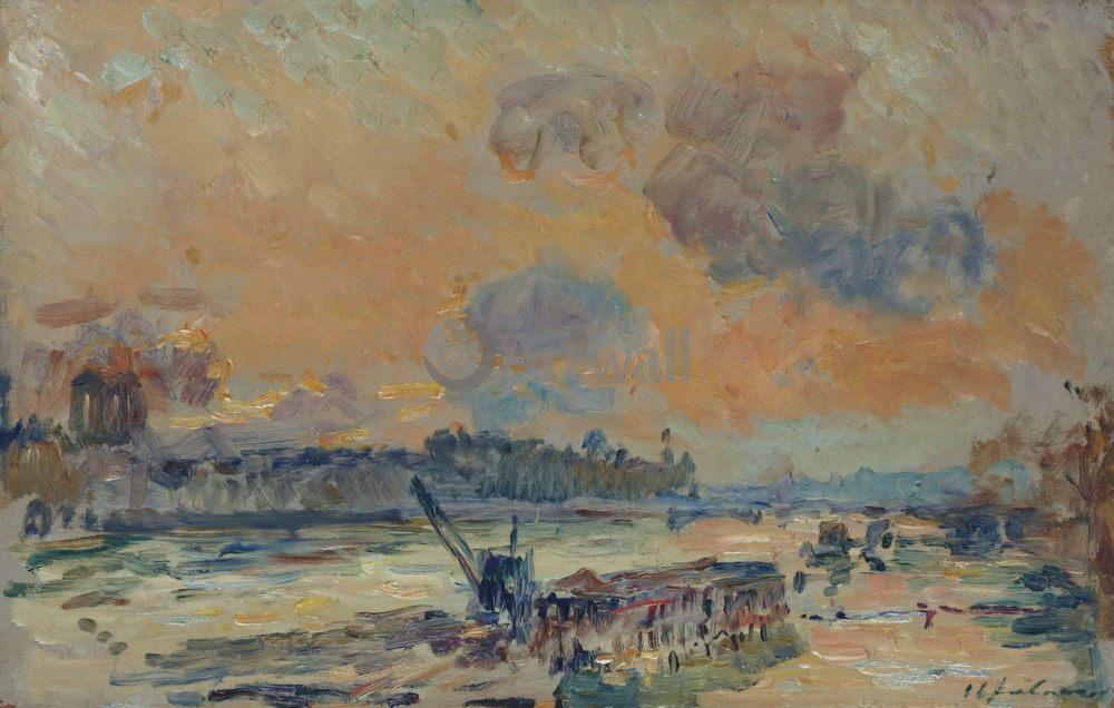 "Художники, картина ""Берег реки"", 31x20 см, на бумаге от Artwall"