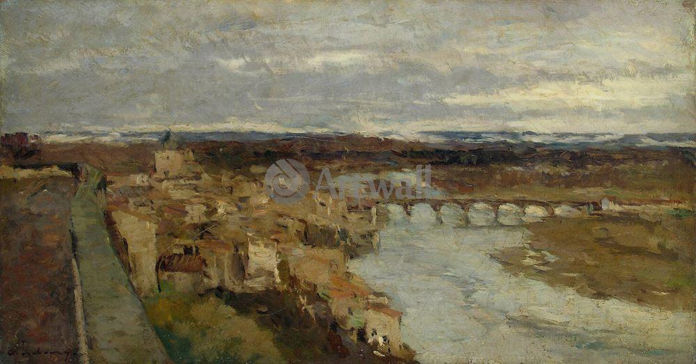 """Художники, картина """"Вид на мост Шато"""", 38x20 см, на бумаге от Artwall"""