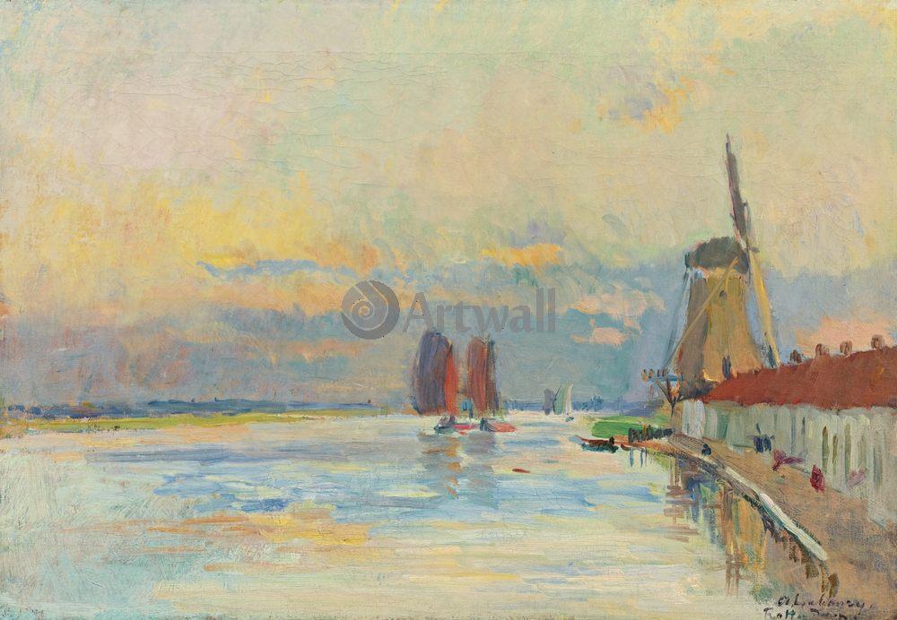 """Художники, картина """"Водяная мельница около канала в Роттердаме"""", 29x20 см, на бумаге от Artwall"""