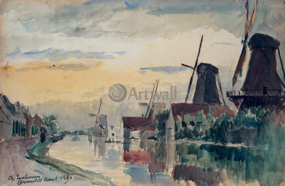 """Художники, картина """"Водяные мельницы в Оверши"""", 31x20 см, на бумаге от Artwall"""