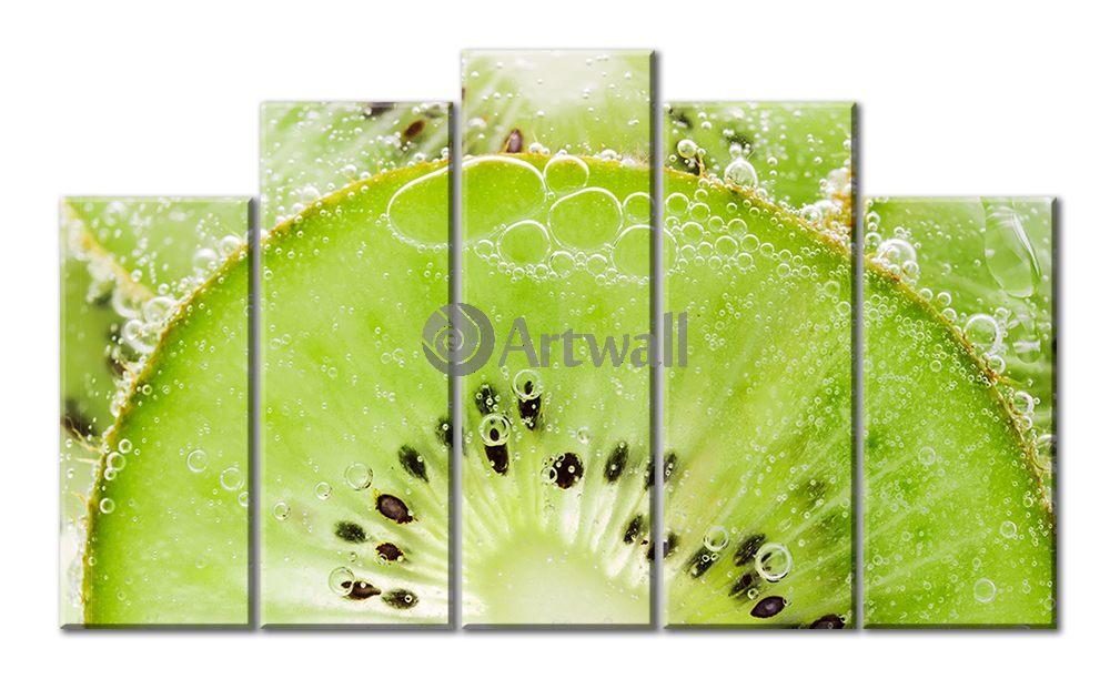 Модульная картина «Пузырьки киви», 82x50 см, модульная картина от Artwall