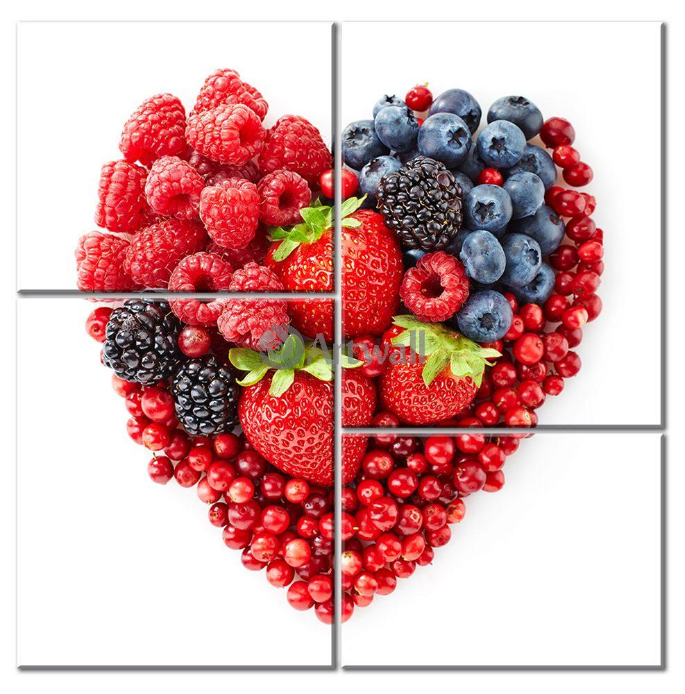 Модульная картина «Ягодная любовь», 50x51 см, модульная картина от Artwall