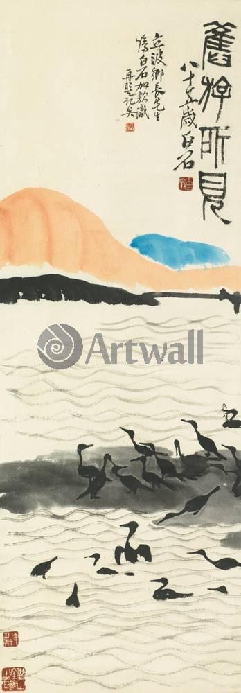 """Японская гравюра Японские гравюры, """"Бакланы на закате"""", 20x57 см, на бумаге от Artwall"""