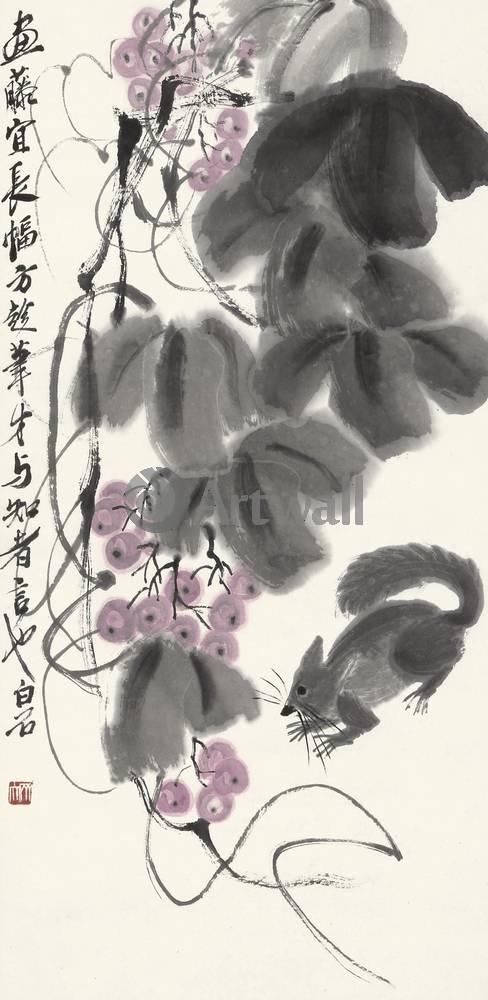 """Японская гравюра Японские гравюры, """"Виноград и белка"""", 20x41 см, на бумаге от Artwall"""