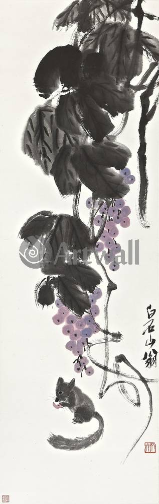 """Японская гравюра Японские гравюры, """"Виноград и белка"""", 20x63 см, на бумаге от Artwall"""
