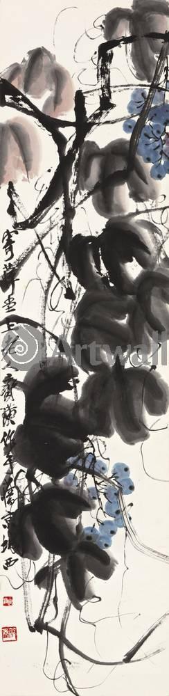 """Японская гравюра Японские гравюры, """"Виноградная лоза"""", 20x82 см, на бумаге от Artwall"""