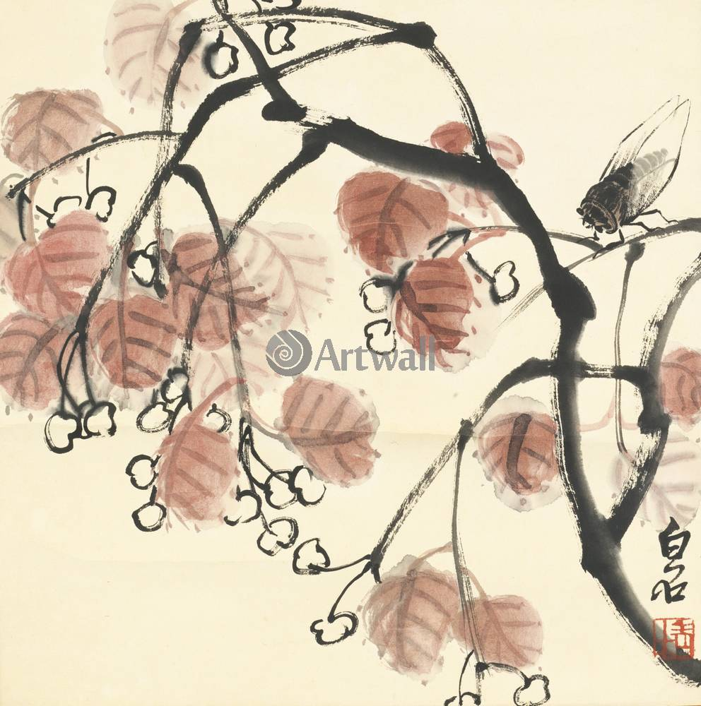"""Японская гравюра Японские гравюры, """"Вишня и цикада"""", 20x20 см, на бумаге от Artwall"""