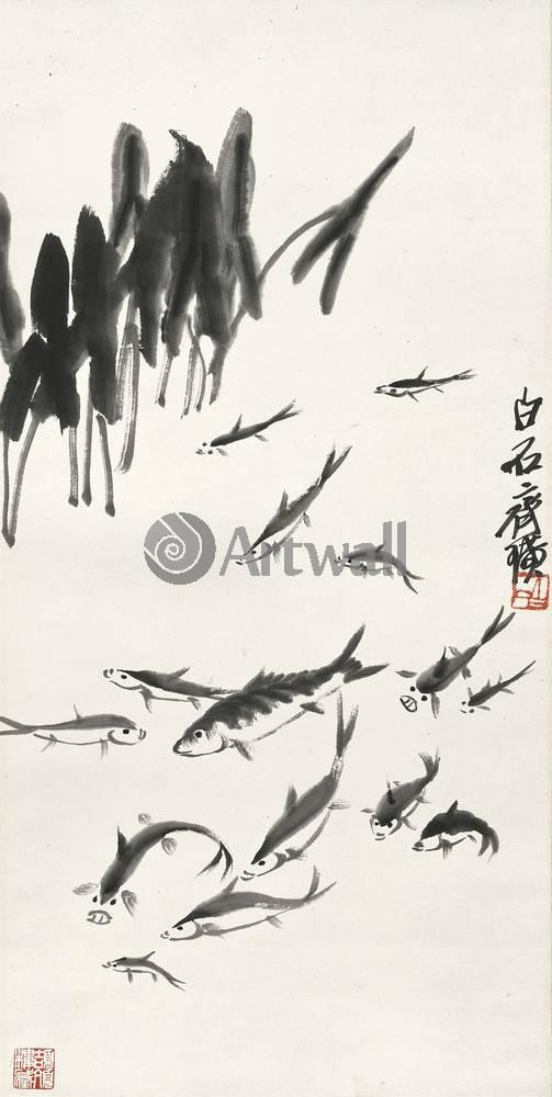 """Японская гравюра Японские гравюры, """"В пруду"""", 20x40 см, на бумаге от Artwall"""