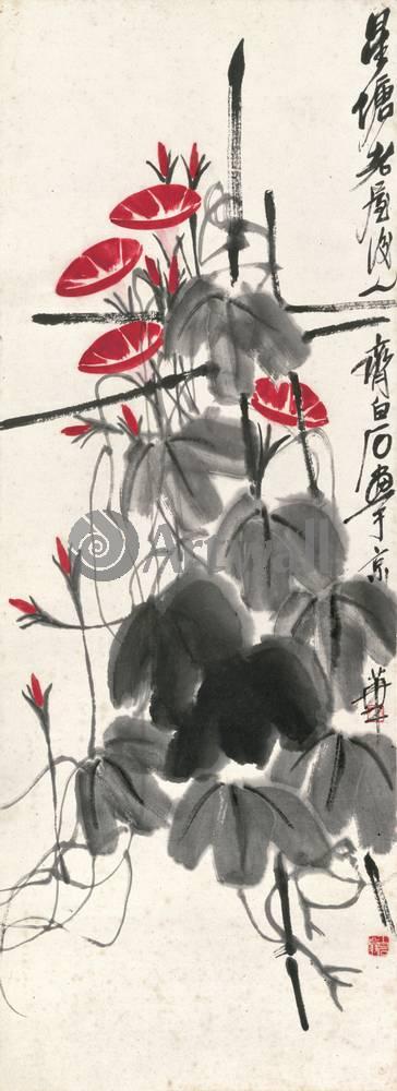 """Японская гравюра Японские гравюры, """"Вьюнки"""", 20x55 см, на бумаге от Artwall"""