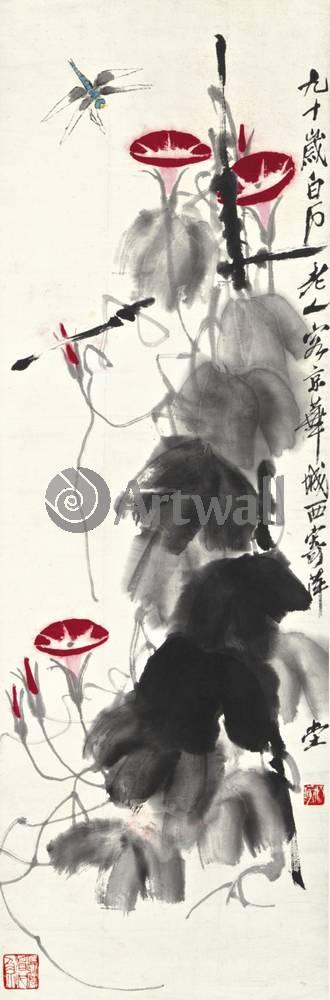 """Японская гравюра Японские гравюры, """"Вьюнок и стрекоза"""", 20x61 см, на бумаге от Artwall"""
