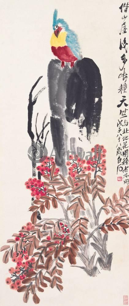 """Японская гравюра Японские гравюры, """"Герань и попугай"""", 20x48 см, на бумаге от Artwall"""
