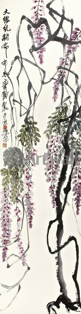 """Японская гравюра Японские гравюры, """"Глициния"""", 20x77 см, на бумаге от Artwall"""