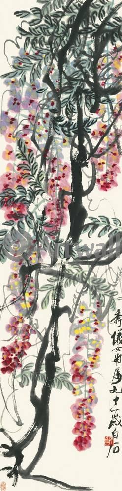 """Японская гравюра Японские гравюры, """"Глициния"""", 20x81 см, на бумаге от Artwall"""
