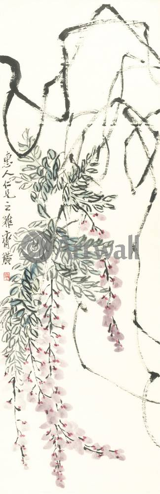 """Японская гравюра Японские гравюры, """"Глициния"""", 20x62 см, на бумаге от Artwall"""