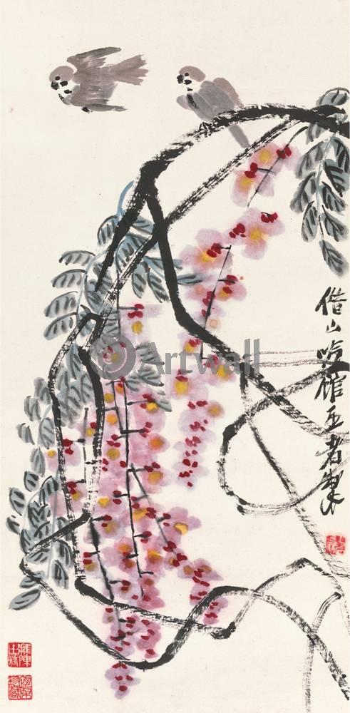 """Японская гравюра Японские гравюры, """"Глициния и птицы"""", 20x41 см, на бумаге от Artwall"""