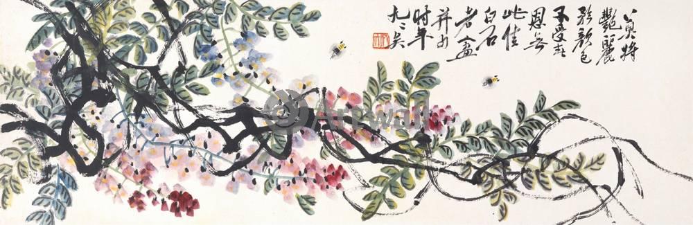"""Японская гравюра Японские гравюры, """"Глициния и пчелы"""", 62x20 см, на бумаге от Artwall"""