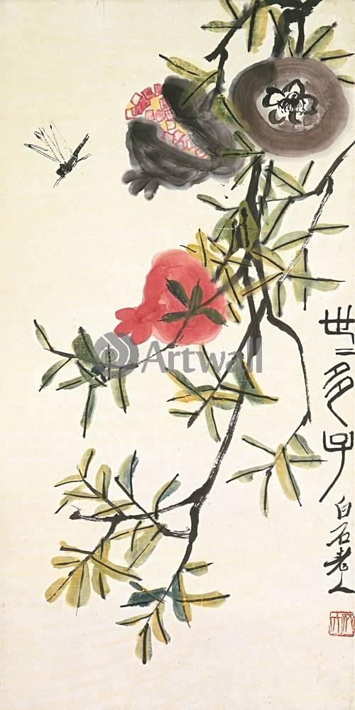 """Японская гравюра Японские гравюры, """"Гранаты"""", 20x40 см, на бумаге от Artwall"""