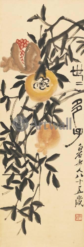 """Японская гравюра Японские гравюры, """"Гранаты"""", 20x59 см, на бумаге от Artwall"""