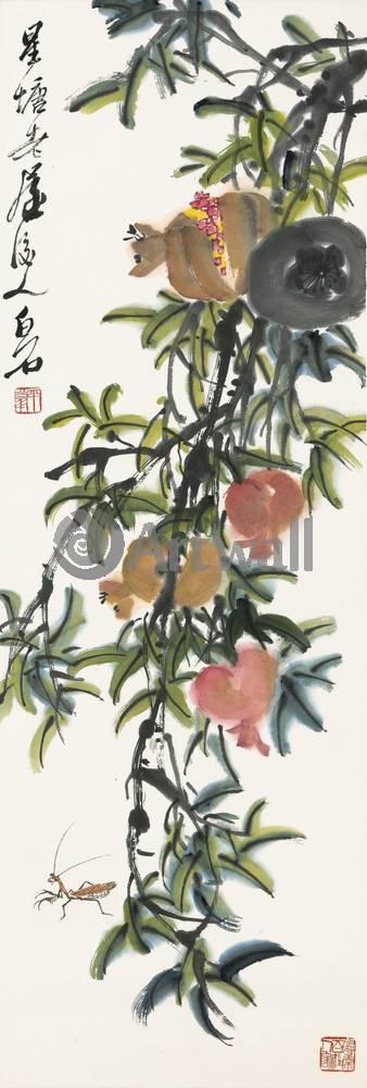 """Японская гравюра Японские гравюры, """"Гранаты и богомол"""", 20x59 см, на бумаге от Artwall"""