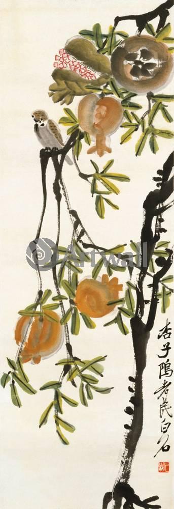"""Японская гравюра Японские гравюры, """"Гранаты и птица"""", 20x58 см, на бумаге от Artwall"""