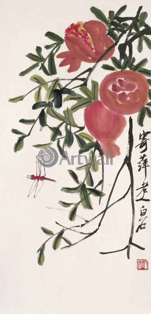 """Японская гравюра Японские гравюры, """"Гранаты и стрекоза"""", 20x42 см, на бумаге от Artwall"""