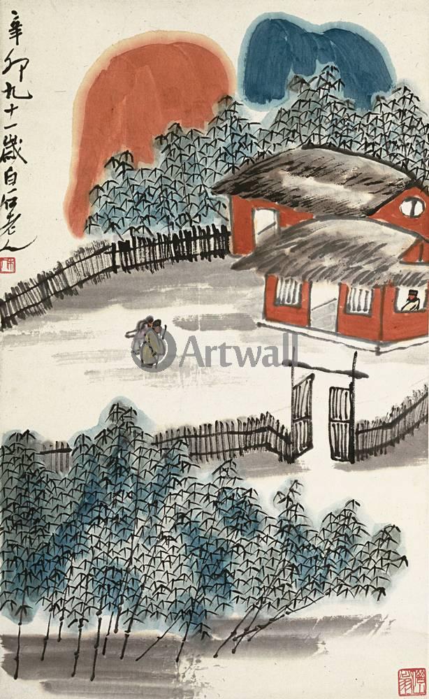 """Японская гравюра Японские гравюры, """"Деревенский дом"""", 20x33 см, на бумаге от Artwall"""