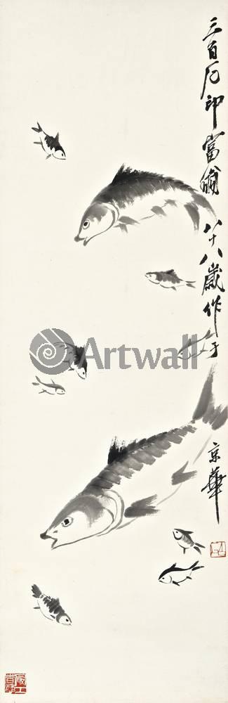 """Японская гравюра Японские гравюры, """"Десять рыбок"""", 20x62 см, на бумаге от Artwall"""