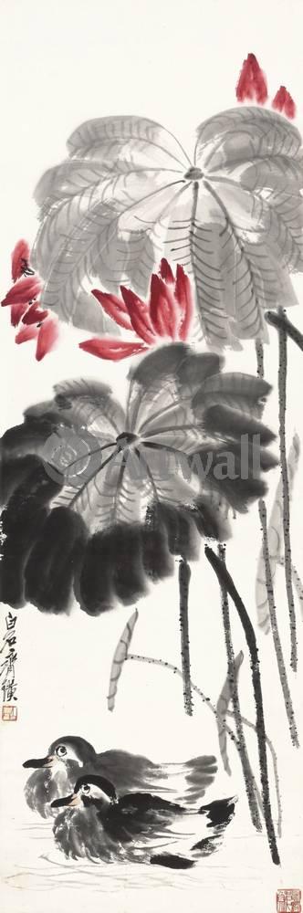 """Японская гравюра Японские гравюры, """"Дикие утки в пруду с лотосами"""", 20x60 см, на бумаге от Artwall"""