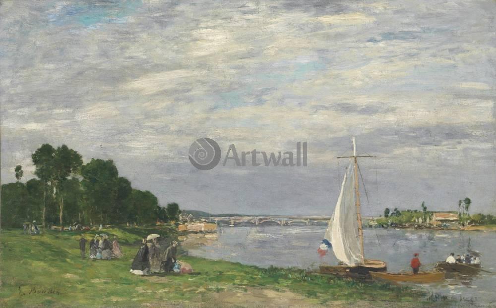 "Художники, картина ""Аржантей, прогулка по берегу реки"", 32x20 см, на бумаге от Artwall"