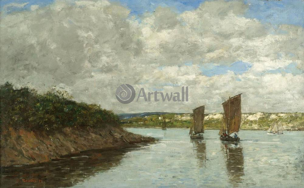 """Художники, картина """"Бретань, лодки и берега"""", 32x20 см, на бумаге от Artwall"""