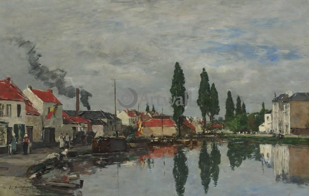 """Художники, картина """"Брюссель, канал Левен"""", 32x20 см, на бумаге от Artwall"""