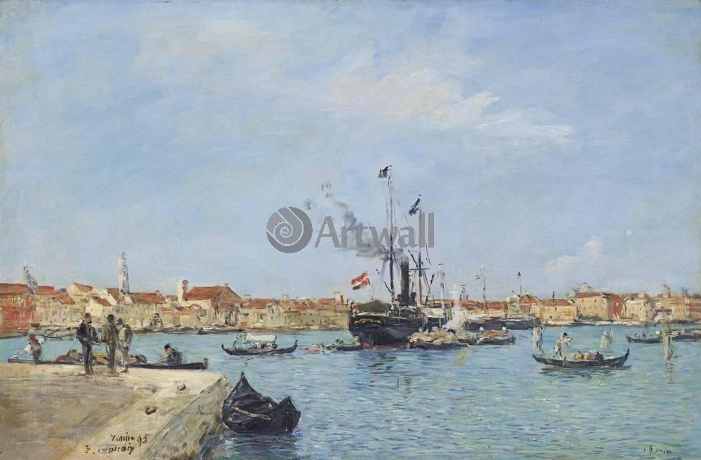 """Художники, картина """"Венеция, Гранд канал, гондолы и пароходы"""", 30x20 см, на бумаге от Artwall"""