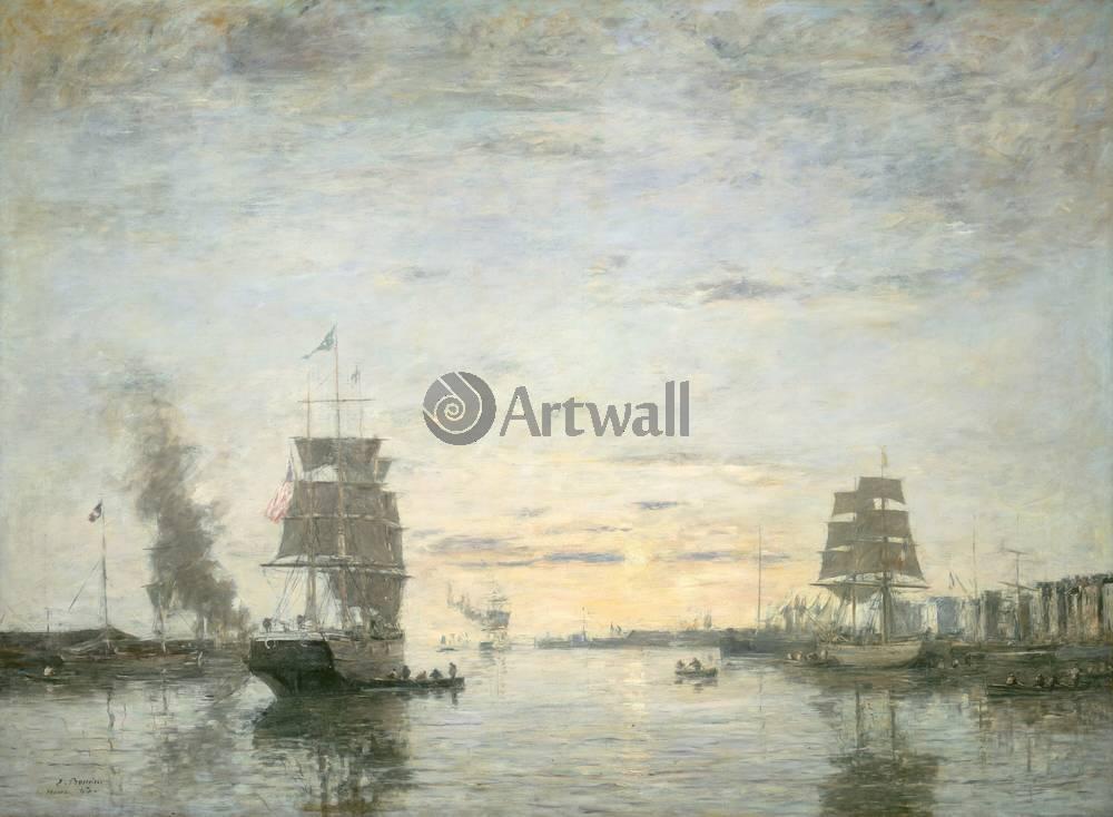 "Художники, картина ""Вход в гавань Гавра"", 27x20 см, на бумаге от Artwall"