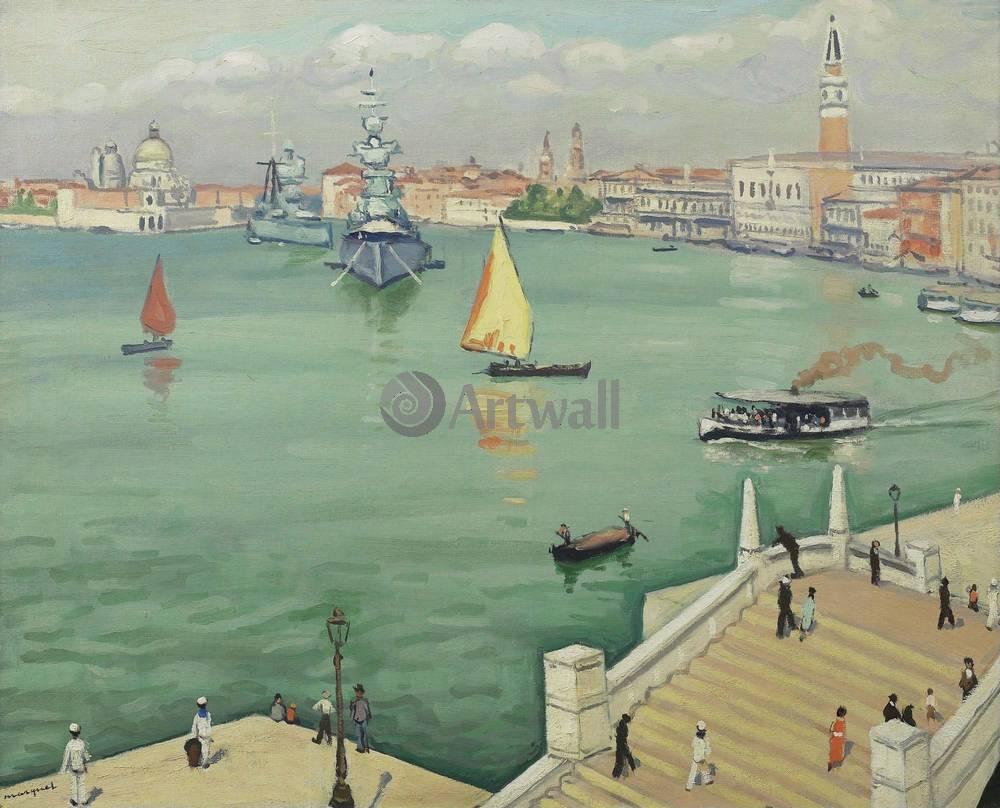 """Художники, картина """"Военные корабли в Венеции"""", 25x20 см, на бумаге от Artwall"""