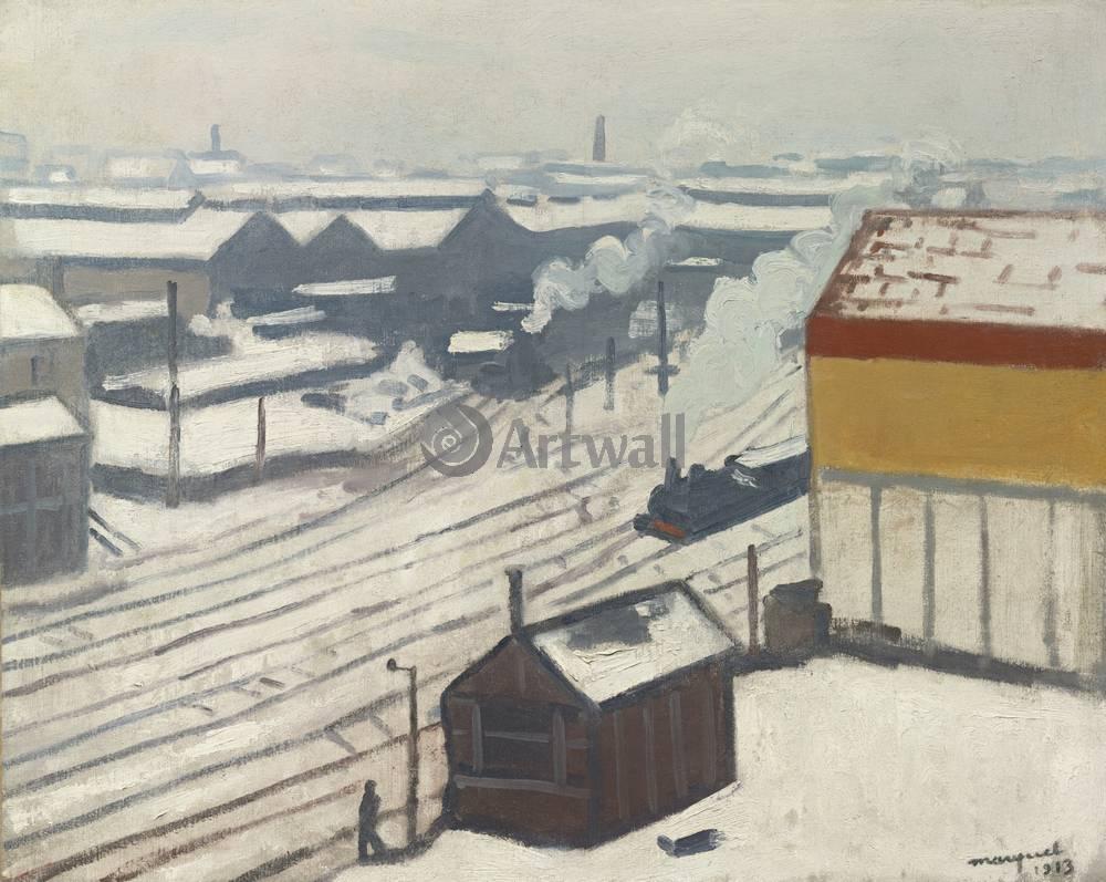 "Художники, картина ""Вокзал под снегом"", 25x20 см, на бумаге от Artwall"